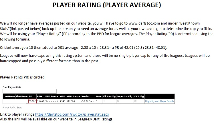 player rating instructions for website